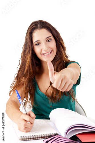 Portrait of a young happy student doing thumbs up