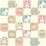 childish seamless pattern with toys