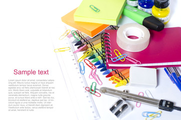 School supplies - background with place for text