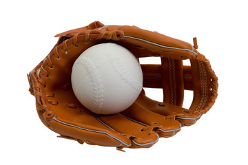 A new leather baseball glove and white ball