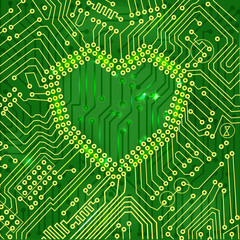 Vector EPS 10- Heart shape printed circuit mainboard, love conce