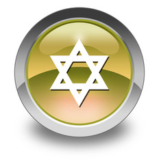 "Yellow Glossy Pictogram ""Star Of David"""
