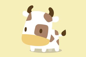 牛のイラスト ベージュトーン