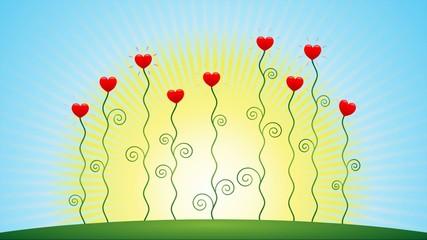 Herzblumen wachsen vor sonnigem Himmel – Animationsfilm