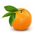 Ripe orange isolated on white background + Clipping Path