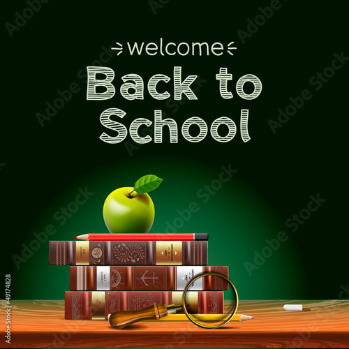 school books with apple on desk, vector Eps10 illustration.