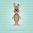 happy easter bunny blue background
