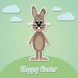 happy easter bunny green background