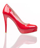 Luxury red female shoe over white