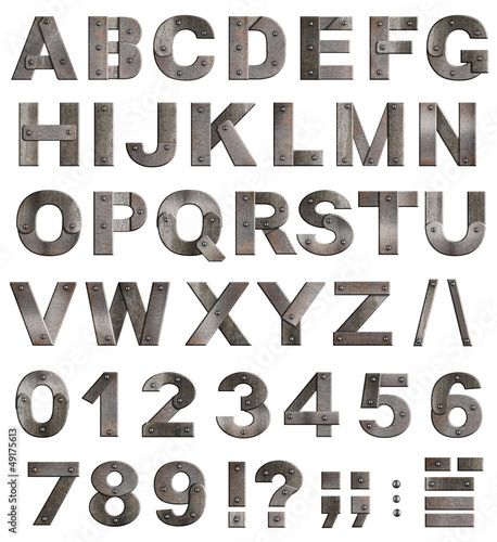 Full old metal alphabet letters, digits and punctuation marks is