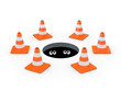 Traffic cones around a manhole