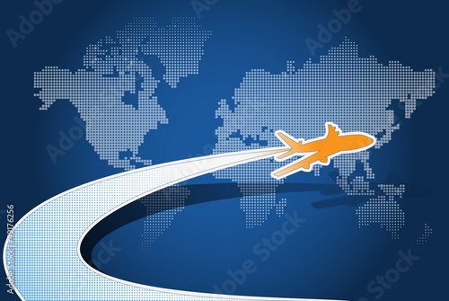 Vector airplane with blue map background