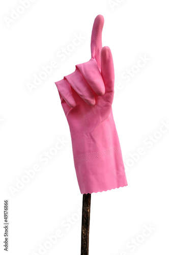 Pink glove gesturing number one with clipping path.