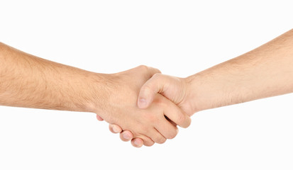 Shaking hands of two male people isolated