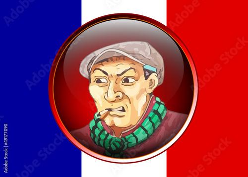 Mann mit Französischer Flagge