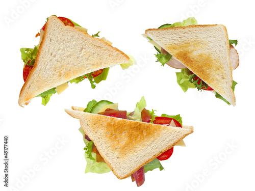 three healthy sandwiches