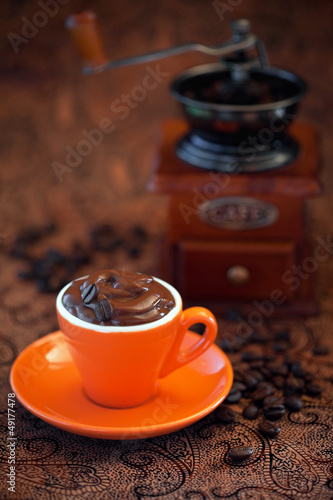 Chocolate mousse in coffee cup, selective focus