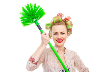 Funny smile housewife / girl with broom