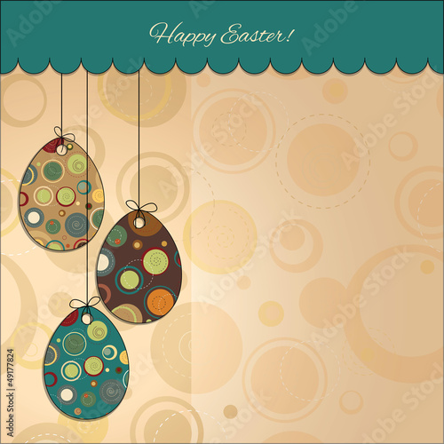 Postcard: Happy Easter. Easter eggs