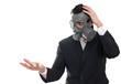 Shocked man with gas mask holding something, isolated on white