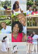 Montage Senior African American Couple Outside