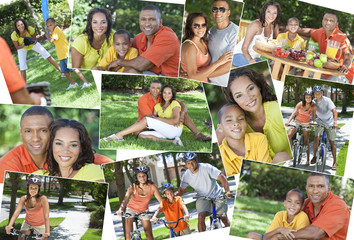 African American Active Family Parents & Boy Child Montage