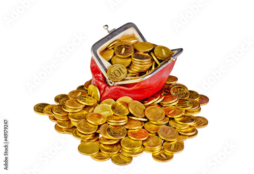 Old red purse with golden coins