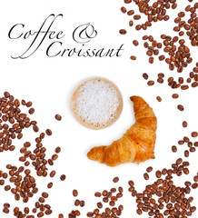 Coffee to go, Beans and french Croissant