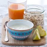Breakfast with yoghurt, muesli and juice