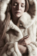 beautifuf lady in a fur