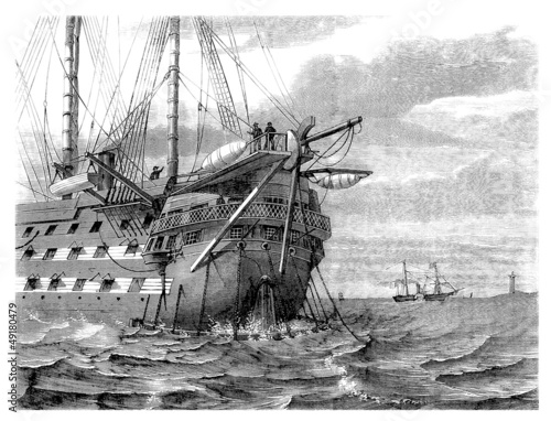 Steamer with Sails - middle 19th century