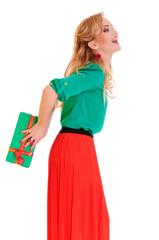 woman hides gift box
