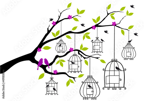 Foto op Aluminium Vogels in kooien tree with birds and open birdcages, vector