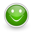 smile green circle glossy web icon on white background