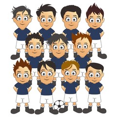 set cartoon blue uniform