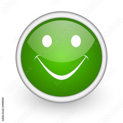 smile green circle glossy web icon on white background