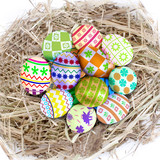 Colorful easter eggs in nest
