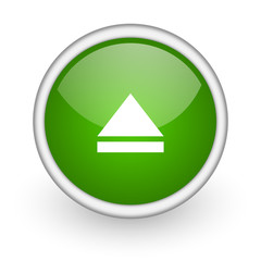 eject green circle glossy web icon on white background