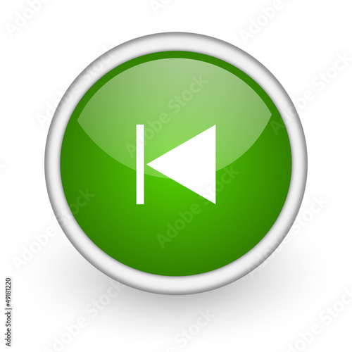 prev green circle glossy web icon on white background