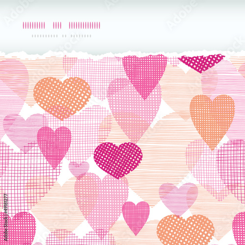 vector textured fabric hearts torn horizontal seamless