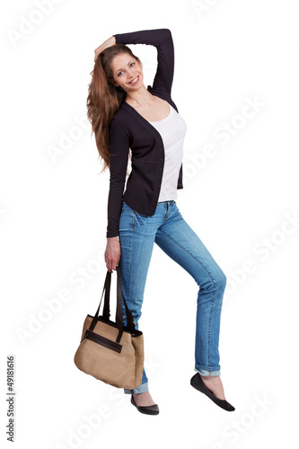 Girl dressed in stylish blue jeans