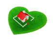 House is located on grassland in the shape of a heart