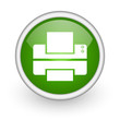 printer green circle glossy web icon on white background
