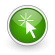 click here green circle glossy web icon on white background