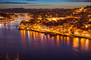 Panoramic of old Porto and Douro river at night, Portugal