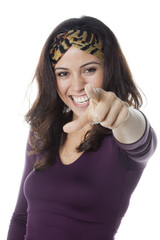 smiling woman giving a fun ultimatum