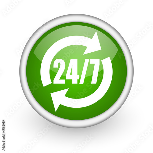 24/7 service green circle glossy web icon on white background