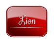 Lion zodiac icon red glossy, isolated on white background