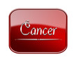 Cancer zodiac icon red glossy, isolated on white background