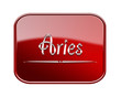 Aries zodiac icon red glossy, isolated on white background